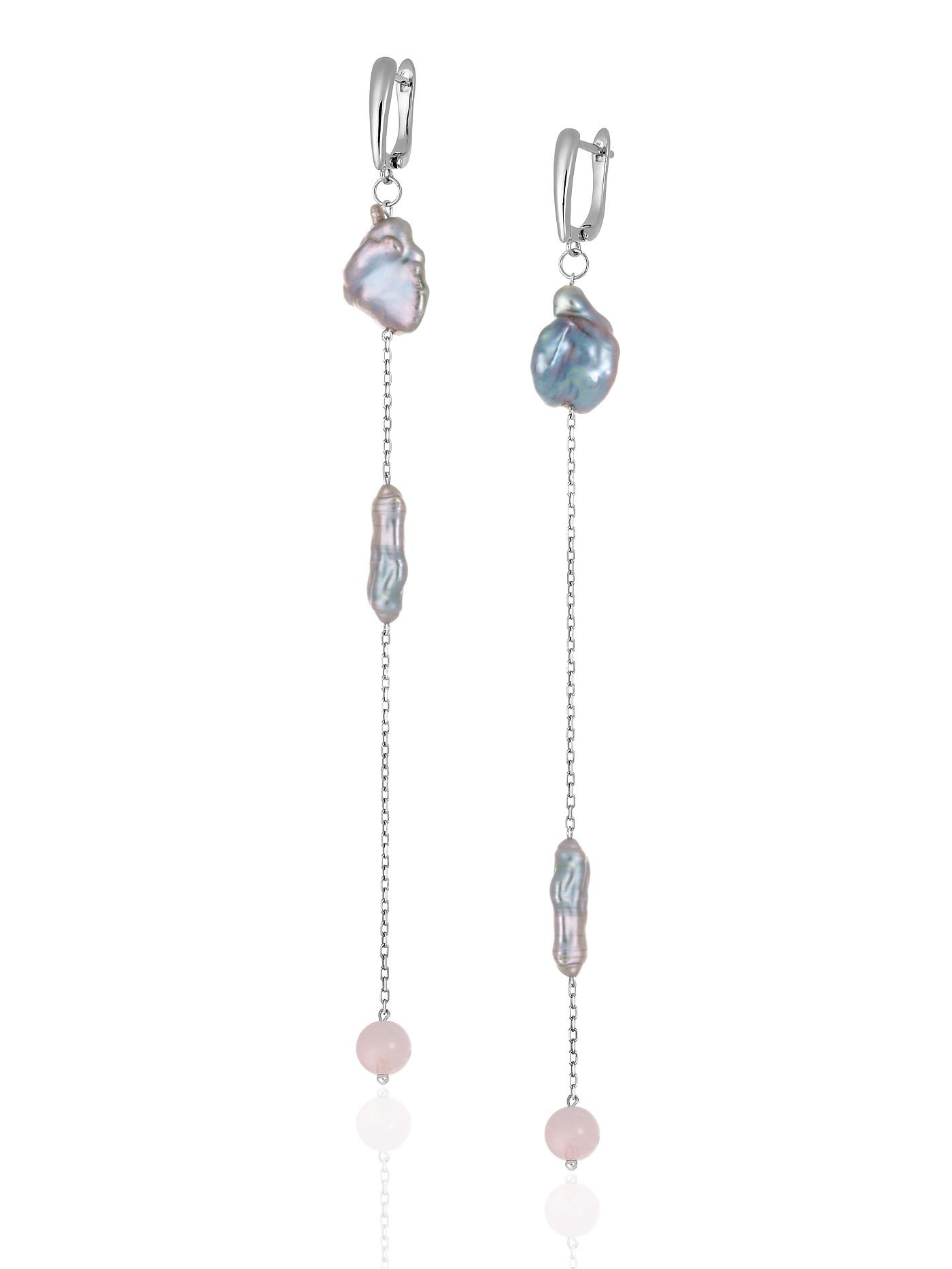 Серьги асимметричные с барочным жемчугом и розовым кварцем