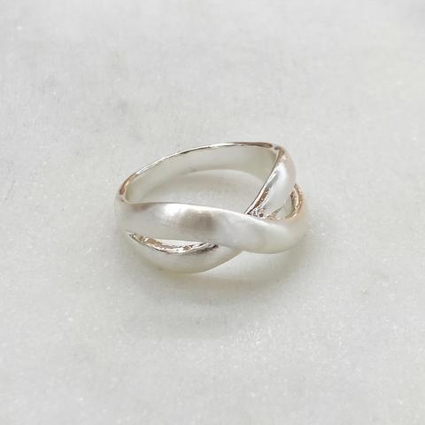 Кольцо Бесконечность (сатин, серебристый) vi