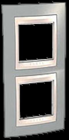 Рамка на 2 поста. Цвет вертикальная Серый/Бежевый. Schneider electric Unica Хамелеон. MGU6.004V.565