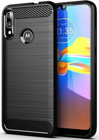 Чехол для Motorola Moto E6S (E6 Plus) цвет Black (черный), серия Carbon от Caseport