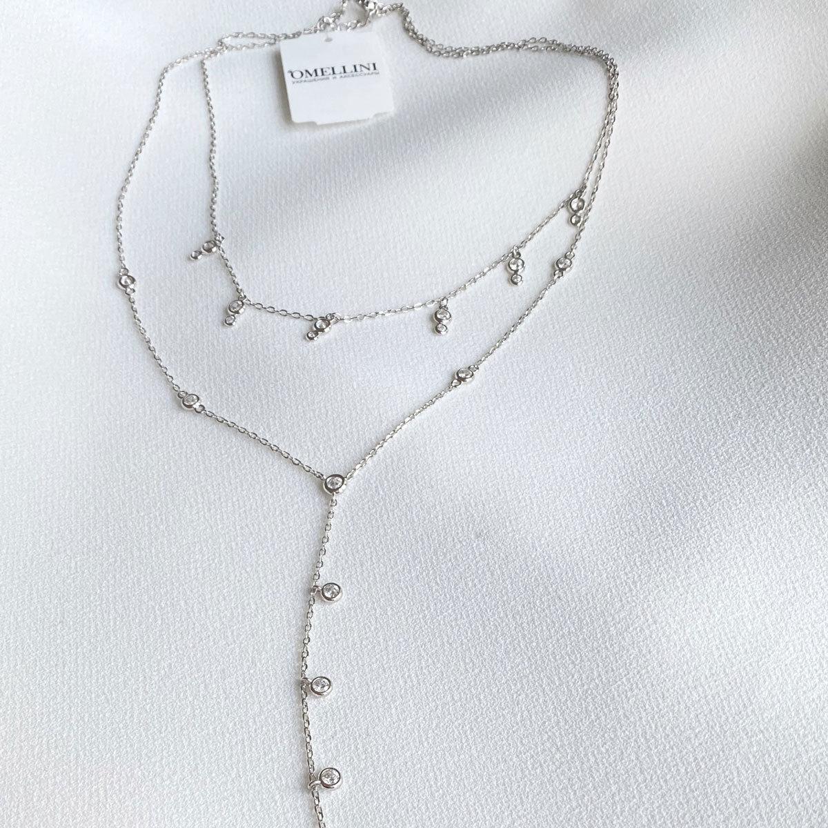 Колье двухрядное с цирконовыми подвесками (цирконы, серебро 925)