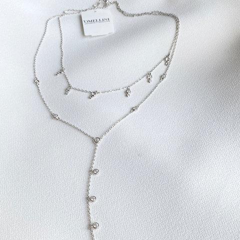 Колье двухрядное с цирконовыми подвесками (серебро 925)