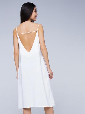 Платье белое льняное с открытой спинкой миди