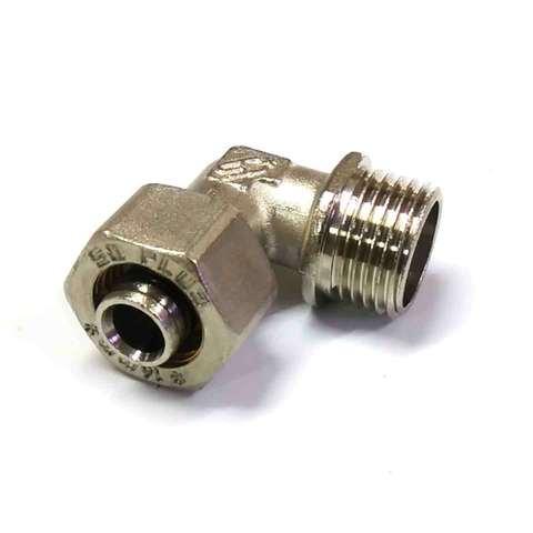 Угол обжимной для металлопластиковых труб 16*1/2 наружная резьба SD Plus