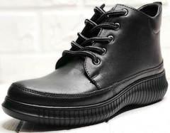 Кеды высокие черные ботинки кожаные женские Evromoda 535-2010 S.A. Black.