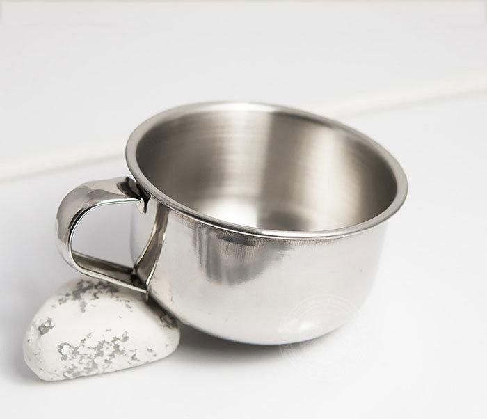 RAZ311 Чаша для бритья из стали с ручкой