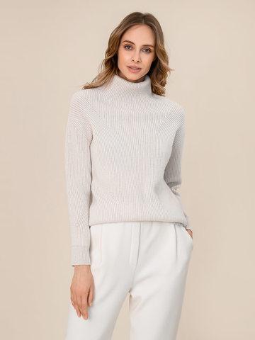 Женский свитер молочного цвета из шерсти и кашемира - фото 1