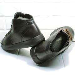 Мужские кожаные кеды ботинки со шнурками Ikoc 1770-5 B-Brown.
