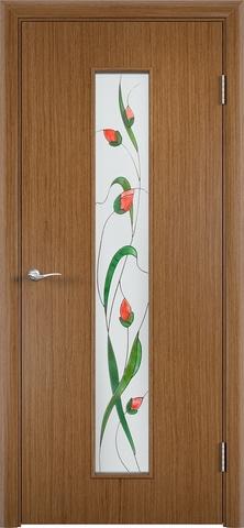 Дверь Верда С-21, стекло Сатинато (Изумруд), цвет орех, остекленная