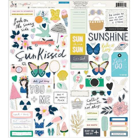 Стикеры Maggie Holmes Sunny Days Cardstock Stickers W/Iridescent Accents (15х30 см )