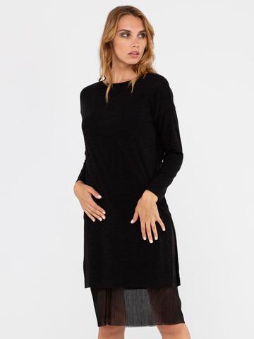 Фото черное платье-трансформер с плисированной юбкой и воланом - Платье З305-806 (1)