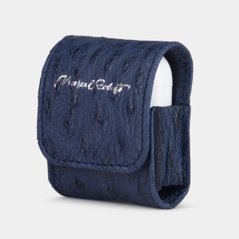 Чехол-держатель для наушников Petit Bisness из натуральной кожи страуса, синего цвета