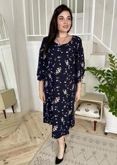 Адель. Вільна сукня з оригінальним рукавом. Сині квіти