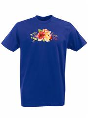 Футболка с принтом Цветы (Пионы) синяя 002