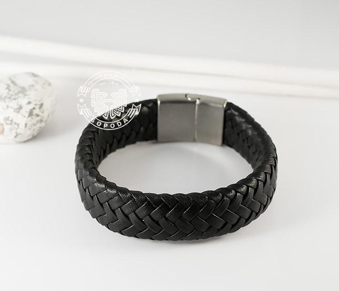 BM367 Широкий мужской браслет из натуральной кожи на магнитной застежке (22 см) фото 05