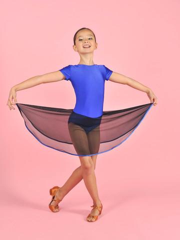 Купальник гимнастический с юбочкой из сетки