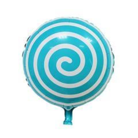 К Круг, Леденец Спираль, Голубой, 18''/46 см, 1 шт.
