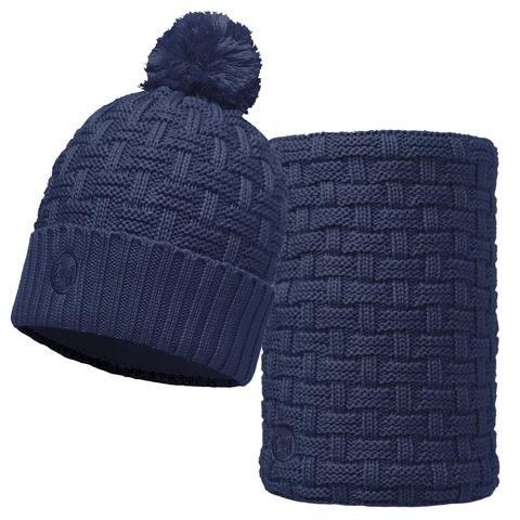 Комплект шапка шарф вязаный с флисом Buff Airon Dark Denim фото 1