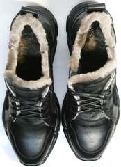 Женские черные кожаные кроссовки с мехом внутри зимние Studio27 547c All Black.