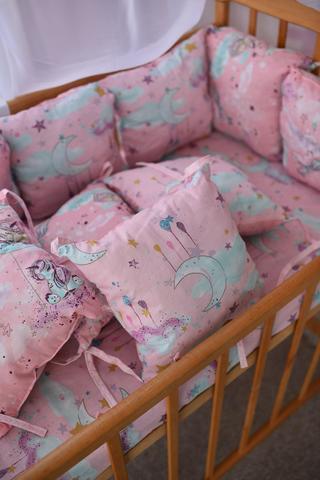 Защита в кроватку от комплекта Облачко 12 шт 03-05-01 Девочка розовый