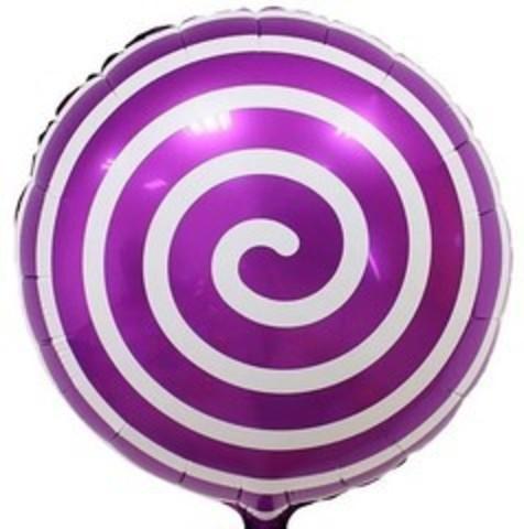 К Круг, Леденец Спираль, Фиолетовый, 18''/46 см, 1 шт.
