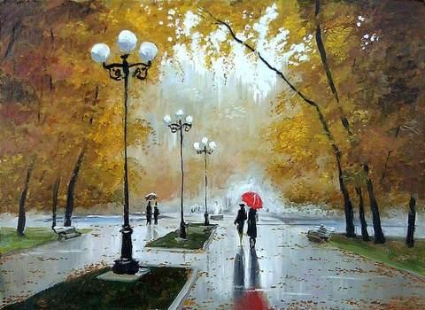 Картина раскраска по номерам 40x50 Дождливый осенний парк