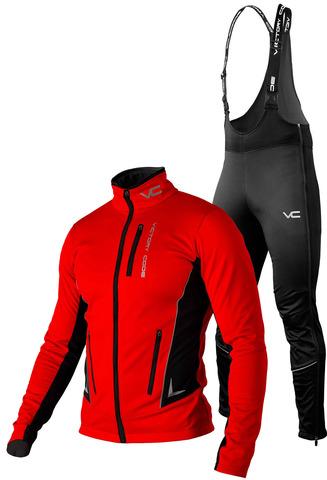 Утеплённый лыжный костюм 905 Victory Code Speed Up Red с высокой спинкой мужской