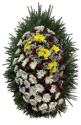 Траурный венок из живых цветов ВЖ 03 -180 см