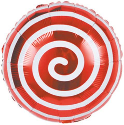 К Круг, Леденец Спираль, Красный, 18''/46 см,1 шт.
