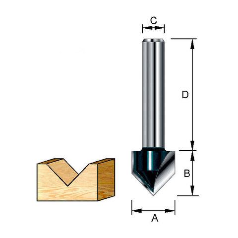 Фреза для V-образных пазов 12,7х38х12,7х12 мм; 90 °
