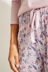 Довгі штани з бавовни з квітковим принтом рожевого кольору