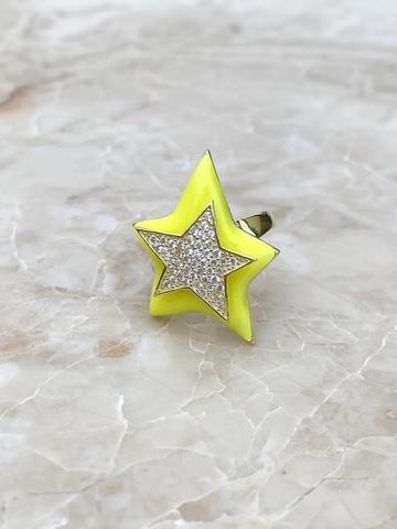 Кольцо Звезда из позолоченного серебра с желтой эмалью