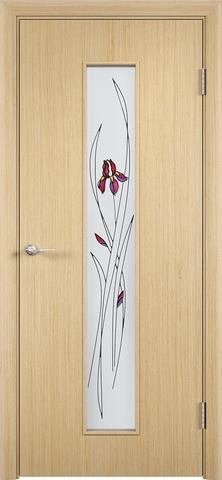 Дверь Верда С-21, стекло Сатинато (Ирис), цвет беленый дуб, остекленная