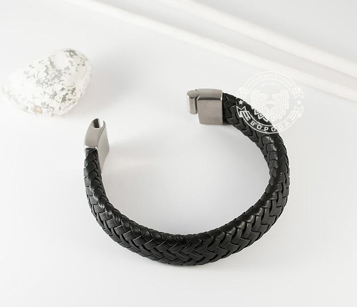 BM367 Широкий мужской браслет из натуральной кожи на магнитной застежке (22 см) фото 07