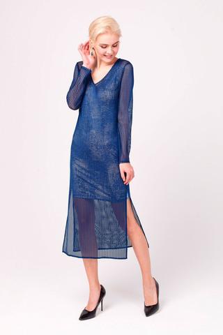 Фото синее платье с нижним топом прямого силуэта с глиттерным напылением - Платье З340-279 (1)