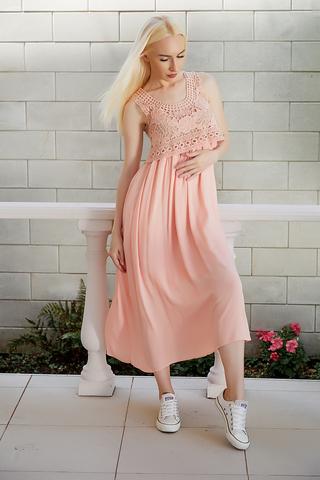 длинное однотонное летнее платье nadya