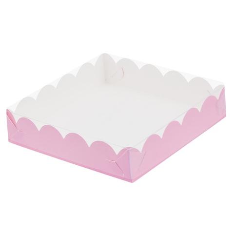Коробка для пряников с прозрачной крышкой РОЗОВАЯ  (12х12см h-2,5см)