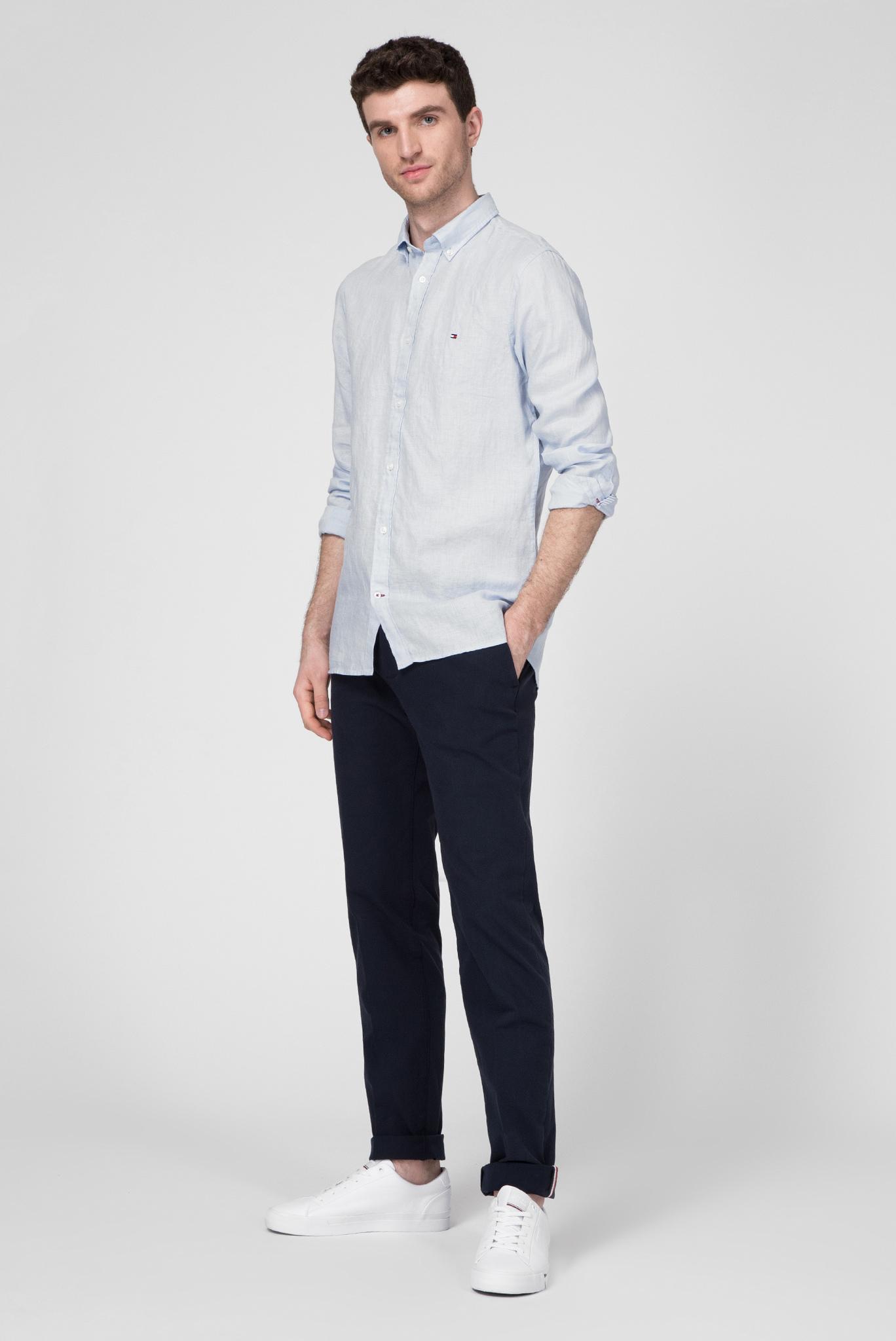 Мужская голубая льняная рубашка SLIM SOLID LINEN SHIRT Tommy Hilfiger