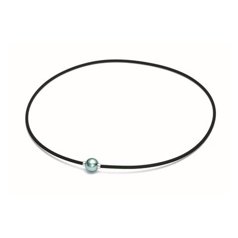 Ожерелье PHITEN RAKUWA NECKLACE EXTREME METAX MIRROR BALL LIGHT (серо-голубой)