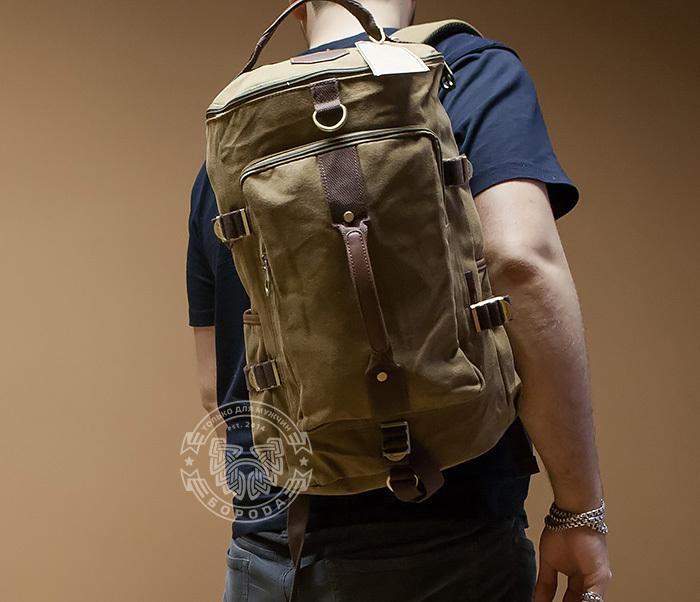 BAG368-2 Стильная и вместительная сумка рюкзак с ремнем на плечо фото 07
