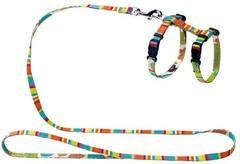 Шлейка для кошек и собак, Hunter Smart Stripes, нейлон разноцветная