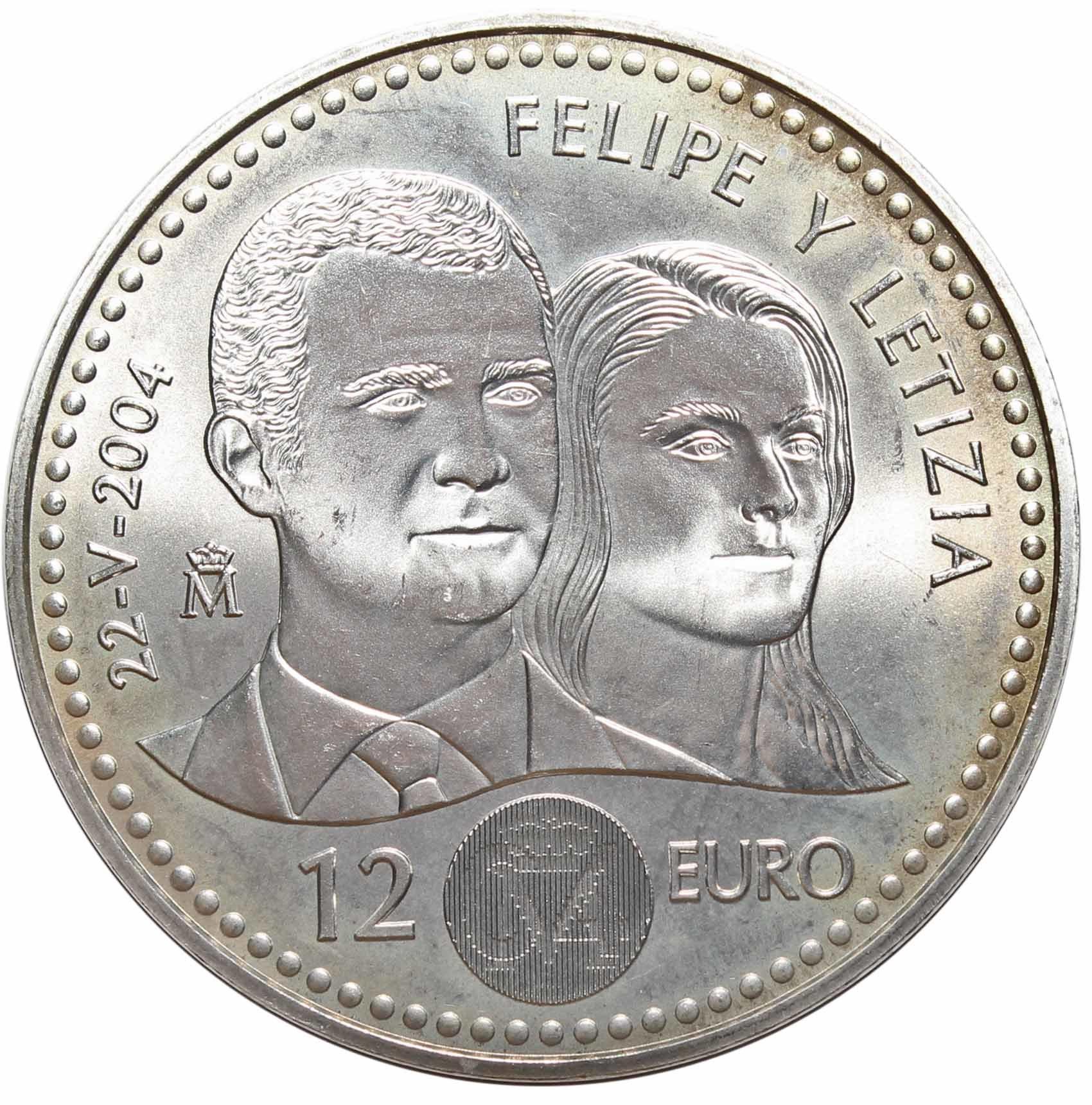 12 евро. Свадьба принца Фелипе и Летиции. Испания. 2004 г. Серебро AU