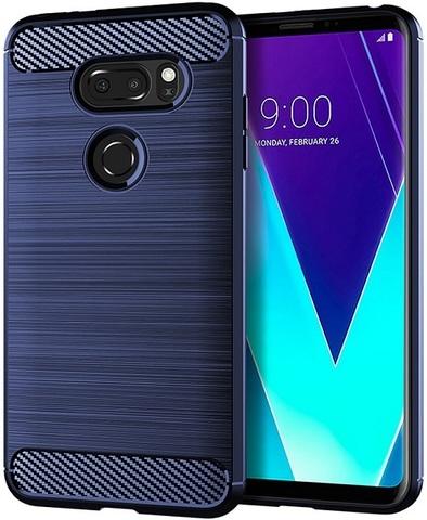 Чехол для LG V30S ThinQ (V30S+ ThinQ, V35 ThinQ) цвет Blue (синий), серия Carbon от Caseport