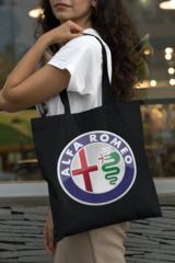 Женская сумка-шоппер с принтом Альфа Ромео (Alfa Romeo) черная 001