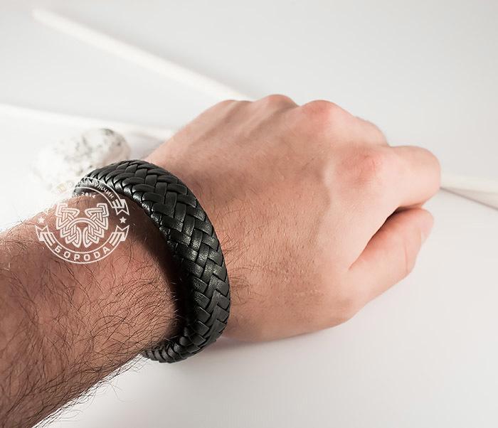 BM367 Широкий мужской браслет из натуральной кожи на магнитной застежке (22 см) фото 08