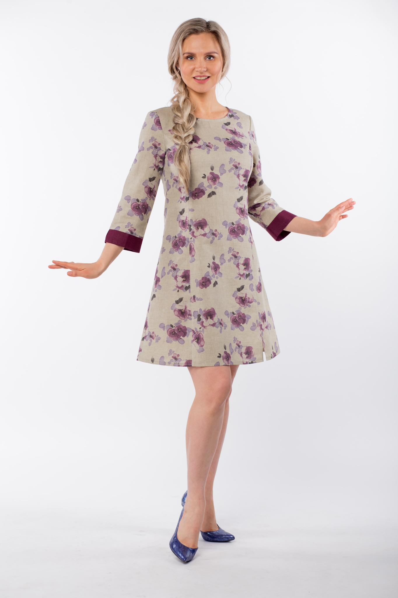 Платье льняное Лесная фиалка без пояса