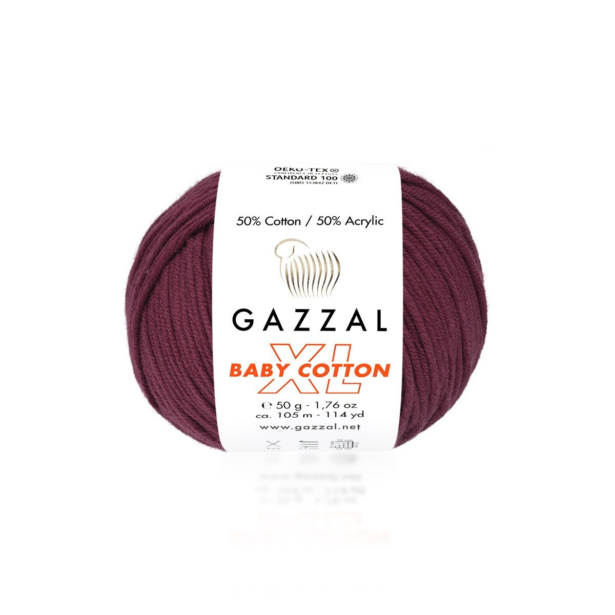 Пряжа Gazzal Baby Cotton XL 3442 марсала