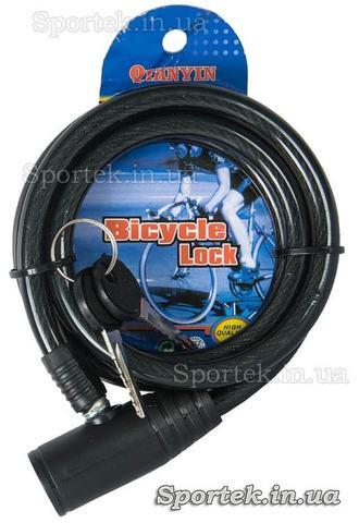 Велозамок під ключ на сталевому тросі 10 х 1200 мм з чорним вініловим покриттям