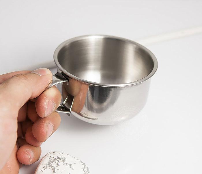 RAZ311 Чаша для бритья из стали с ручкой фото 06