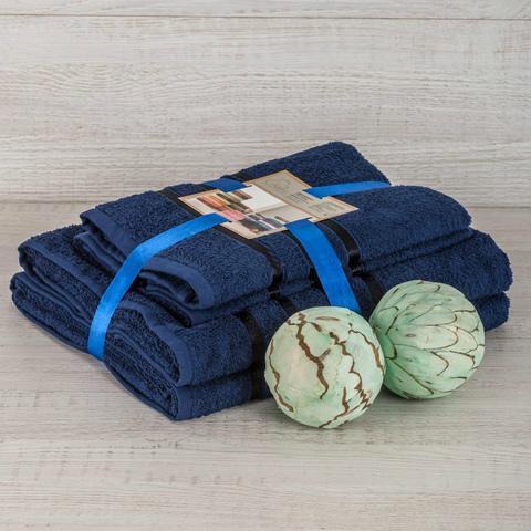 Комплект махровых полотенец 2 шт., синий
